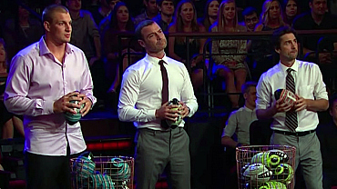 Gronk, Luke Wilson & Liev Schreiber Pelted James Corden With Footballs