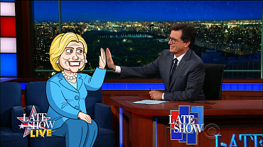 Cartoon Hillary Clinton Answers Questions From Republicans On The Late Show