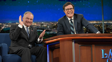 VP Candidate Tim Kaine Lets Loose On The Late Show
