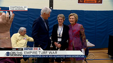 Clinton counts on NY win as Sanders gains momentum