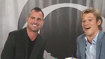 Lucas Till And George Eads 'MacGyver' Their Own Glasses And Party Hats